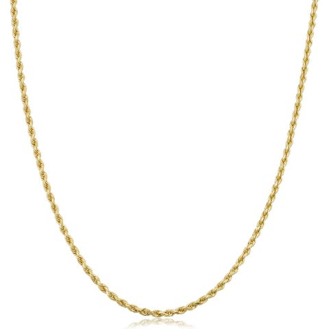 Fremada 10k Yellow Gold 1.9 millimiter Semi Solid Rope Chain 14 - 30-inch Necklace