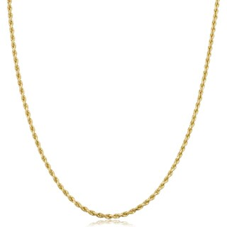 Fremada 10k Yellow Gold 1.8-mm Semi Solid Rope Chain 14 - 30-inch Necklace