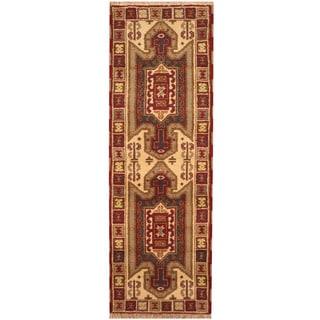 Herat Oriental Indo Hand-knotted Tribal Kazak Wool Runner (2'2 x 6'7)