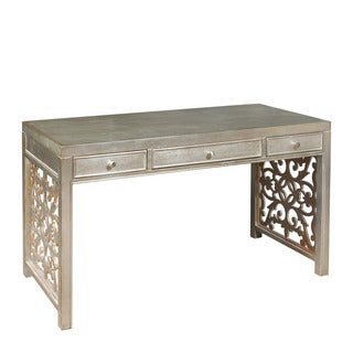 Hand Painted Distressed Metallic Silver and Gold Finish Desk