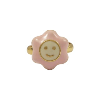 Luxiro Gold Finish Pink Enamel Large Smiley Flower Adjustable Children's Ring