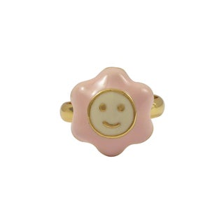 Luxiro Gold Finish Pink Enamel Large Smiley Flower Adjustable Children's Ring (2 options available)