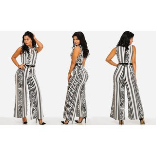 Juniors' Black and White Polyester and Spandex Sleeveless Wide-legged Belted Jumpsuit