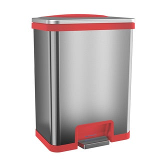 halo TapCan Red-trim Stainless Steel 49-liter Figerprint-proof Effortless Trash Can with Deodorizer