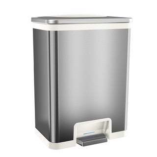 halo TapCan Effortless White-trim Stainless Steel 49-liter Fingerprint-proof Trash Can with Deodorizer