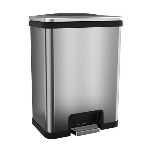 halo TapCan Effortless Trash Can, 49 Liter Fingerprint-Proof Stainless Steel with Deodorizer, Black Trim