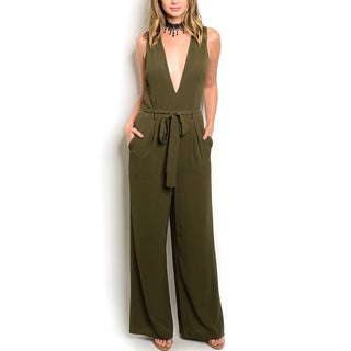 JED Women's Olive Green Polyester Sleeveless Plunging Neckline Wide-leg Jumpsuit