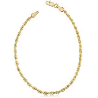 Fremada Uni 10k Yellow Gold 2 6 Mm Semi Solid Rope Chain Bracelet 7 5 Or