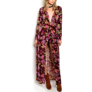 JED Women's Floral Polyester Blend Plunging Neckline Long Sleeve Maxi Jumpsuit