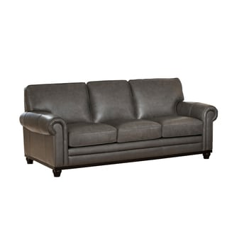 Stafford Top Grain Grey Leather Sofa
