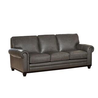 Stafford Top Grain Grey Leather Sofa