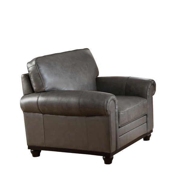 Stafford Top Grain Grey Leather Armchair