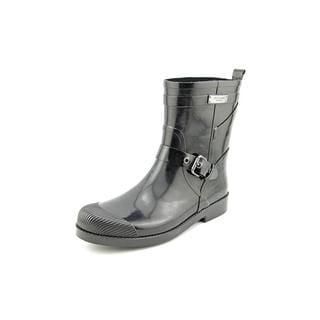 Coach Women's Lester Shiny Rubber Black Rain Boots