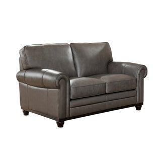 Stafford Top Grain Grey Leather Loveseat