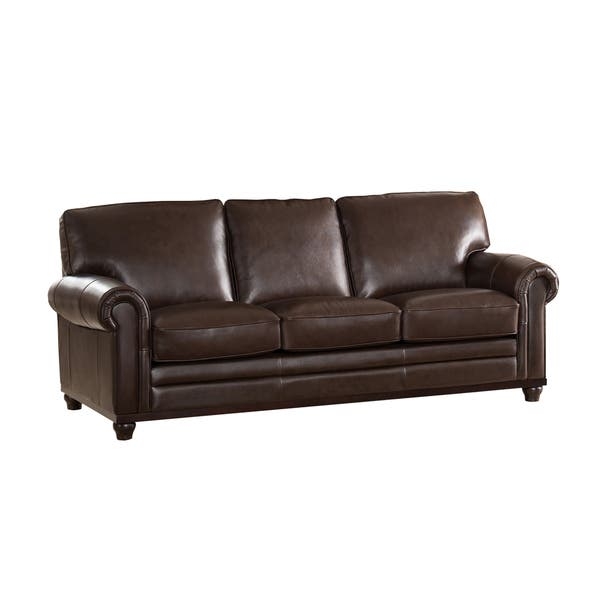 Shop Coventry Top Grain Brown Leather Sofa - On Sale - Free ...