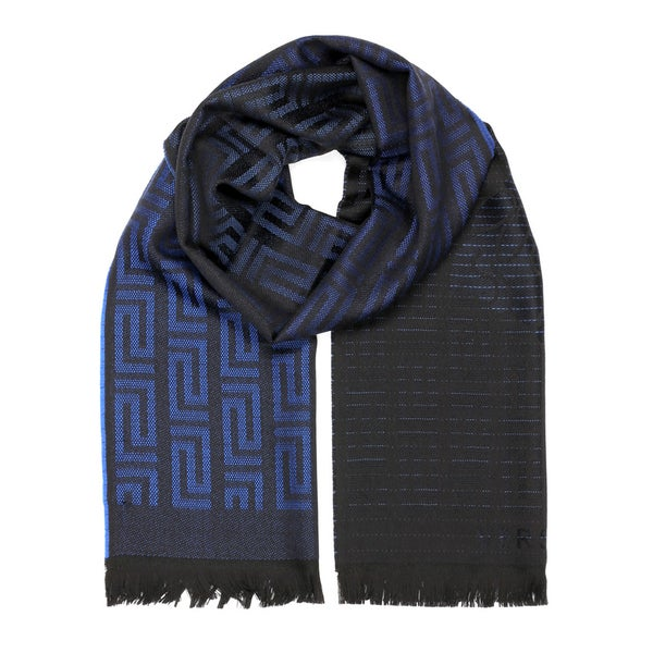 dd0413fcd6 Versace Collection Blue and Black Wool Medusa Scarf