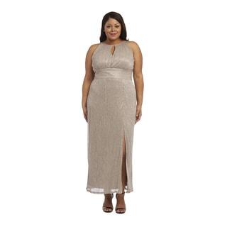 R&M Richards Women's Plus-size Metallic Goldtone Evening Gown