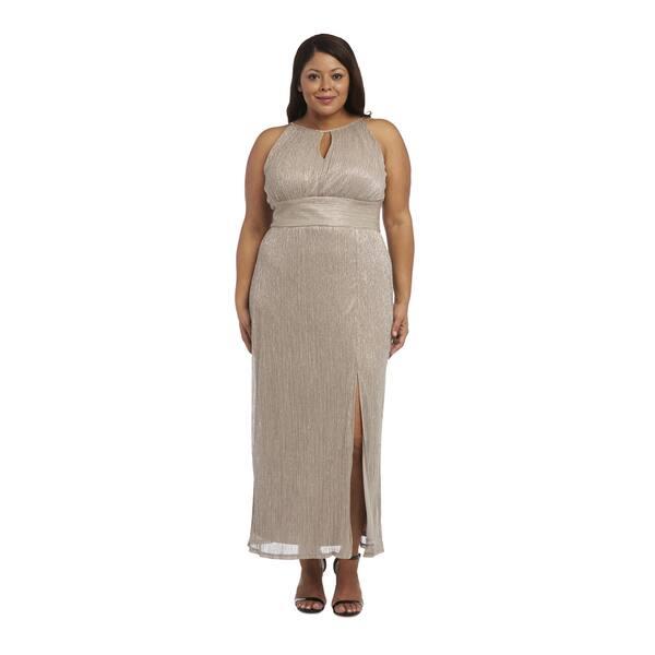 R&M Richards Women\'s Plus-size Metallic Goldtone Evening Gown