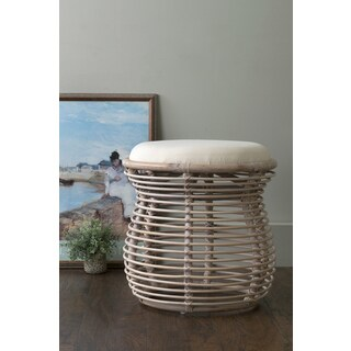 East At Main's Dickerson Off-White Rattan Stool