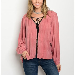JED Women's Mineral-washed Viscose Long-sleeve Relaxed-fit Peasant Blouse