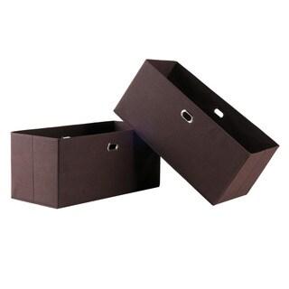 Torino Chocolate Folding Fabric Baskets (Set of 2)