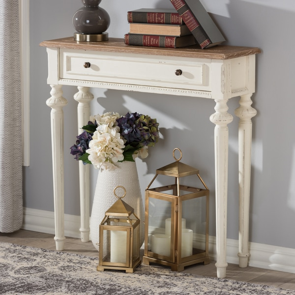 The Gray Barn Keene French Provincial Style Weathered Oak and White Wash Distressed Finish Wood Console Table