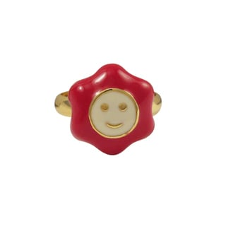 Luxiro Gold Finish Red Enamel Large Smiley Flower Adjustable Children's Ring