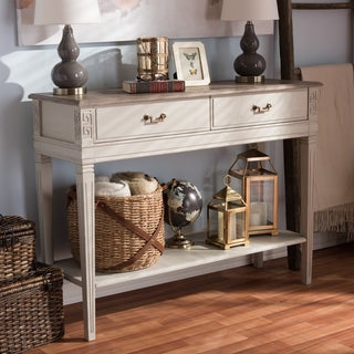 Baxton Studio Hermione French Provincial Style Weathered Oak and White Wash Distressed Finish Wood Console Table