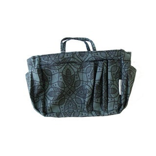 The Plaid Purse Black Flowers Nylon Organizer
