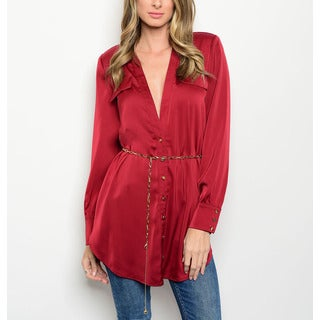JED Women's Long-sleeve Deep V-neck Button-down Shirt with Chain