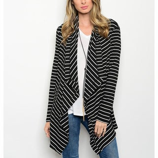 JED Women's Long-sleeve Striped Black, White Polyester, Rayon, Spandex Drapey Cardigan