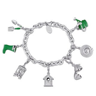 Laura Ashley Garden Collection Created White Sapphire Charm Bracelet in Sterling Silver with Green Black and White Enamel