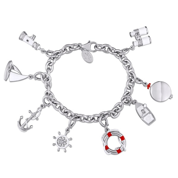 Laura Ashley Nautical Collection Sailor's Created White Sapphire Charm Bracelet in Sterling Silver with Red and White Enamel
