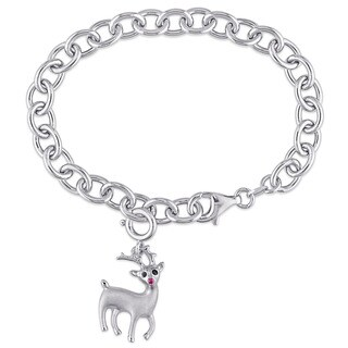 Miadora Sterling Silver Created Ruby and Black Diamond Accent Rudolf the Red-Nosed Reindeer Charm Bracelet Set