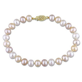 Miadora 14k Yellow Gold White Pink and Peach Cultured Freshwater Pearl Single Strand Bracelet (6-7mm)