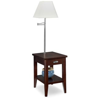 KD Furnishings Laurent Brown Wood Chairside Lamp Table