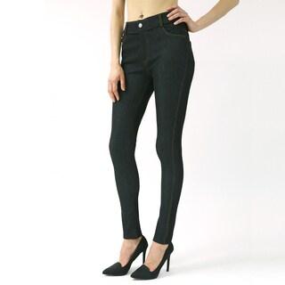 Indero Women's Jean-look Blue/Black Polyester/Spandex Basic 5-pocket Jeggings Tights
