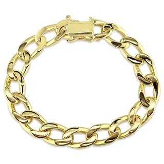 Miadora Signature Collection Men's 14k Yellow Gold Cuban Link Bracelet