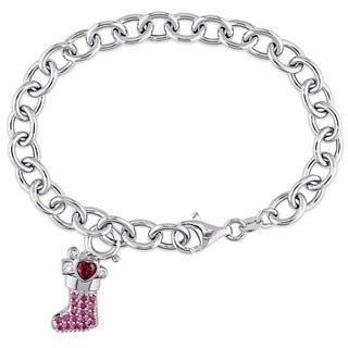 Miadora Sterling Silver Created Ruby and Created White Sapphire Dangling Christmas Stocking Charm Bracelet