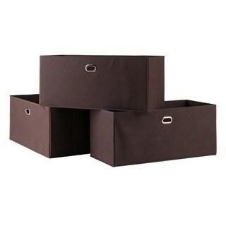 Torino Chocolate Folding Fabric Baskets (Set of 3)