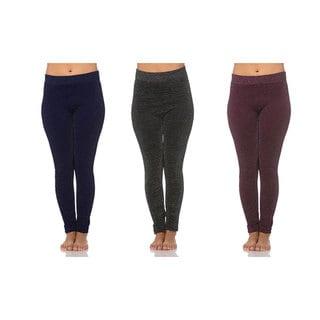 Maze Collections Women's Lurex Multicolor Fleece-lined Leggings (Pack of 3)