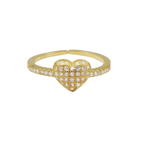 Luxiro Gold Finish Sterling Silver Cubic Zirconia Heart Adjustable Children's Ring - White