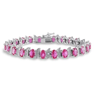 Miadora Sterling Silver Created Rose Sapphire and Diamond Accent S-Link Tennis Bracelet (H-I, I2-I3)