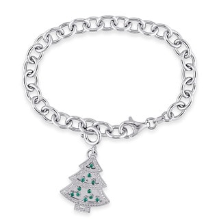 Miadora Sterling Silver 1/10ct TDW Diamond and Created Emerald and White Sapphire Christmas Tree Charm Bracelet (G-H, I2-I3)