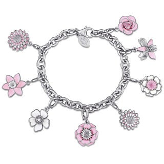 Laura Ashley Botanical Collection Multi-Flower Charm Bracelet in Sterling Silver with Pink White and Black Enamel