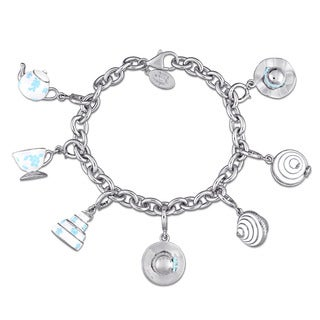 Laura Ashley Jubilee Collection Created White Sapphire Charm Bracelet in Sterling Silver with Baby-Blue and White Enamel