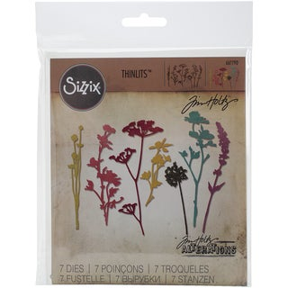 Sizzix Thinlits Dies 7/Pkg By Tim Holtz-Wildflowers