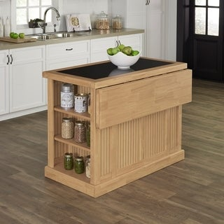 Home Styles Nantucket Natural Kitchen Island with Granite Top