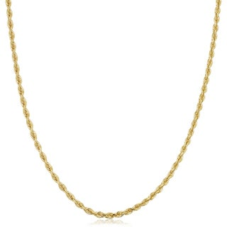 Fremada Unisex 10k Yellow Gold 2.6-mm Semi Solid Rope Chain Necklace (16 - 30 inches)