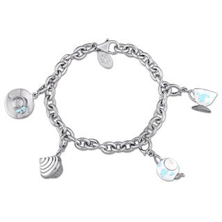 Laura Ashley Jubilee Collection Created White Sapphire Charm Bracelet in Sterling Silver with White and Baby-Blue Enamel